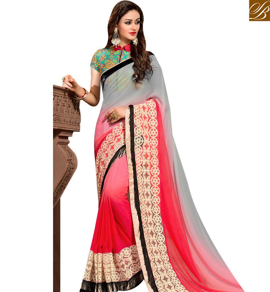 STYLISH BAZAAR WONDERFUL PINK AND GREY GEORGETTE DESIGNER SAREE ATTIRE BORDER WORK WITH EMBROIDERED BLOUSE SLVAR2402