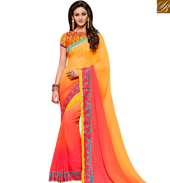 STYLISH BAZAAR DELIGHTFUL PINK AND YELLOW SHADED GEORGETTE SAREE ATTIRE BORDER WORK WITH EMBROIDERED BLOUSE SLVAR2403