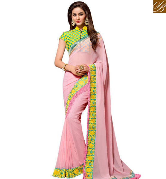 STYLISH BAZAAR BEAUTIFUL PEACH GEORGETTE DESIGNER SAREE HAVING LACE BORDER WITH LOVELY BLOUSE SLVAR2404