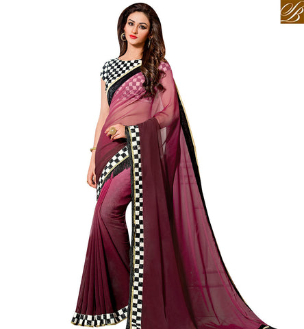 STYLISH BAZAAR ELEGANT WINE GEORGETTE DESIGNER SAREE HAVING BEAUTIFUL CHECKS BLOUSE WITH PLEASNT LOOK SLVAR2405