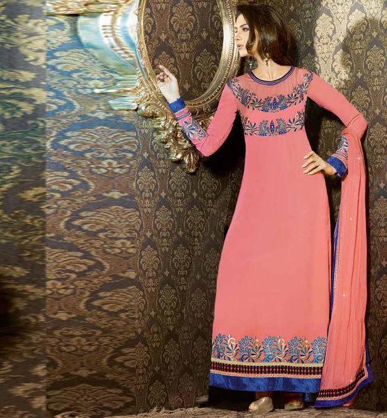 DESIGNER LONG SALWAR KAMEEZ PRETTY LOOK SUIT FOR FASHIONABLE LADIES