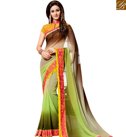 STYLISH BAZAAR PRESENTS MARVELLOUS GREEN GEORGETTE SHADED DESIGNER SAREE WITH YELLOW JACKET STYLE BLOUSE SLVAR2406