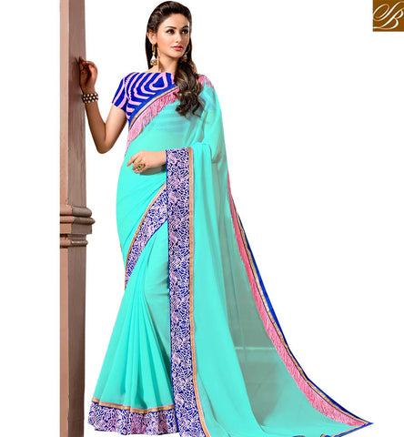 STYLISH BAZAAR REMARKABLE SKY BLUE GEORGETTE DESIGNER SAREE HAVING BLUE LACE BORDER WITH BLUE DESIGNER BLOUSE SLVAR2407