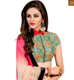 FROM STYLISH BAZAAR FASHIONABLE CREAM AND PINK PURE GEORGETTE DESIGNER SAREE WITH JACKET STYLE BLOUSE SLVAR2408