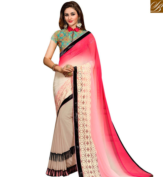 STYLISH BAZAAR FASHIONABLE CREAM AND PINK PURE GEORGETTE DESIGNER SAREE WITH JACKET STYLE BLOUSE SLVAR2408