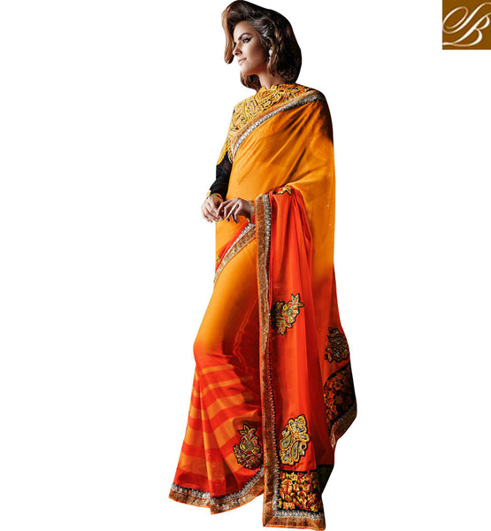 KHWAAB COLLECTION ORANGE SHADED SAREE WITH RICH LOOK DESIGNER BLOUSE
