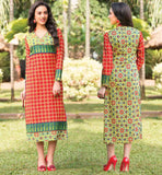 STRAIGHT CUT LONG KURTIS V-NECK TRENDY COLLAR PATTERN RED AND YELLOW PURE COTTON PRINTED LONG TOP DESIGN