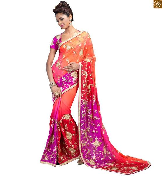 STYLISH BAZAAR CHARMING PINK GEORGETTE SARI COUPLED WITH AN ART SILK PINK BLOUSE RTVL25