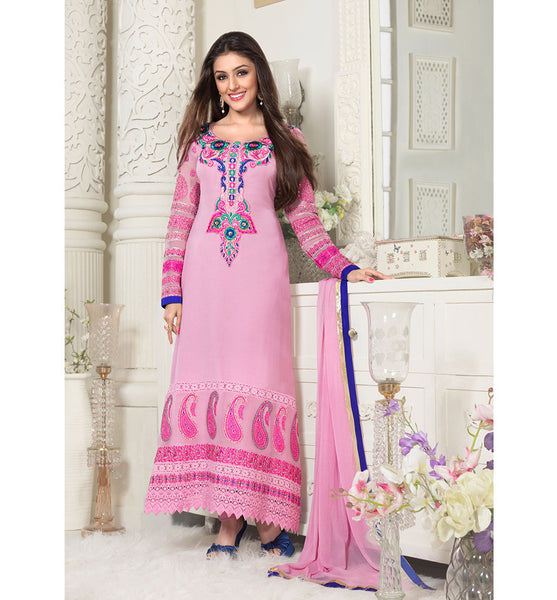 PINK PARTY WEAR SALWAR KAMEEZ WITH CHIFFON DUPATTA BY STYLISH BAZAAR ONLINE SHOPPING WEBSITE