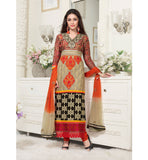 CRAEAM PARTY WEAR SALWAR KAMEEZ WITH CHIFFON DUPATTA BY STYLISH BAZAAR ONLINE SHOPPING WEBSITE