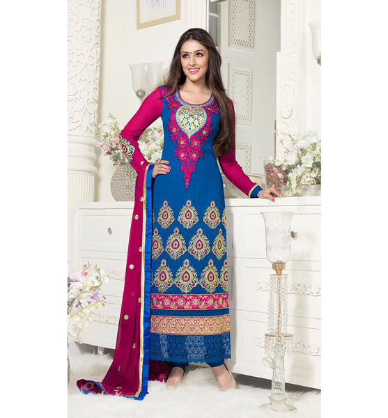 BLUE PARTY WEAR SALWAR KAMEEZ WITH CHIFFON DUPATTA BY STYLISH BAZAAR ONLINE SHOPPING WEBSITE