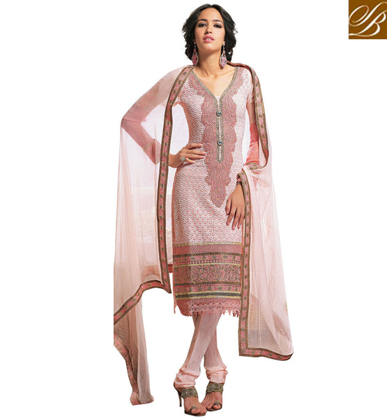 PEACH GEORGETTE SALWAR KAMEEZ WITH STONE WORK & LACE BORDER RTAM2521