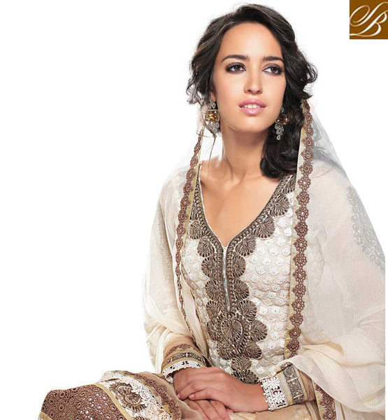 CREAM GEORGETTE SALWAR KAMEEZ WITH STONE WORK & LACE BORDER RTAM2529