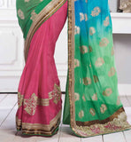 SMASHING GREEN PINK & BLUE PARTY WEAR SARI RTCHA252
