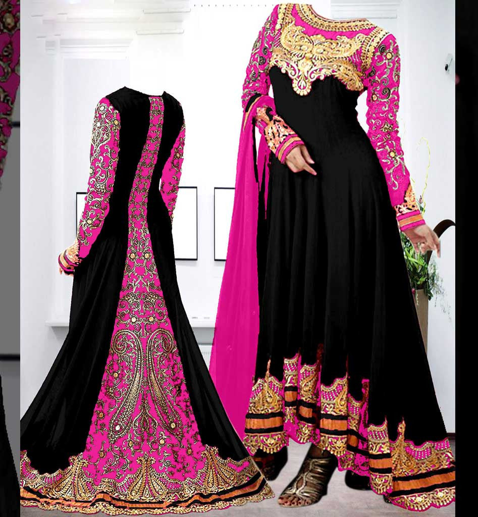 Pakistani style designer floor length anarkali suit with for Floor length suits