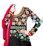BLACK GEORGETTE PARTY WEAR ANARKALI DRESS BY STYLISHBAZAAR