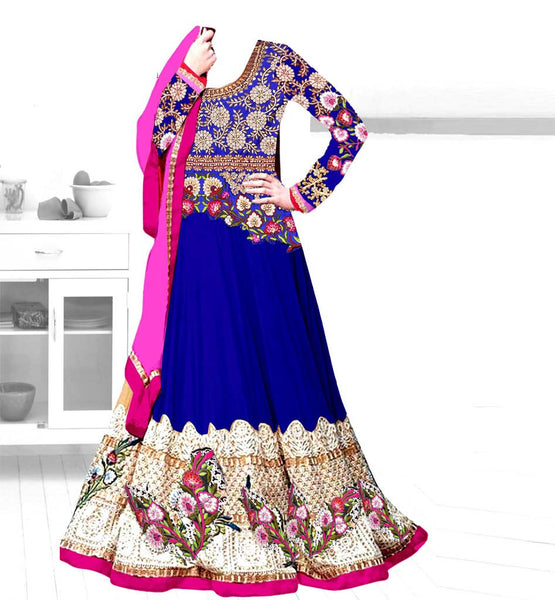 BLUE GEORGETTE PARTY WEAR ANARKALI DRESS BY STYLISHBAZAAR
