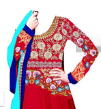 RED GEORGETTE PARTY WEAR ANARKALI DRESS BY STYLISHBAZAAR