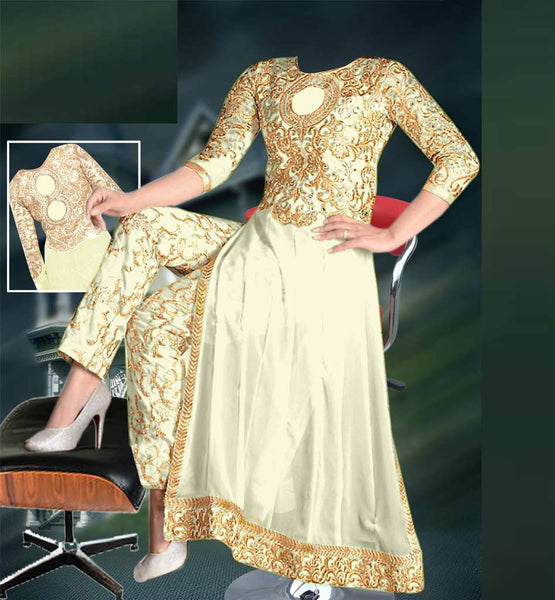 Off White party wear embroidered dress with trouser type salwar