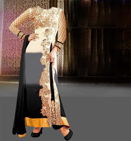 BLACK & GREY SHADED INDIAN PARTY WEAR SALWAR SUIT
