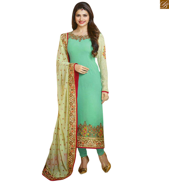 Sea-Green georgette straight cut designer neck salwar kameez with long sleeves and matching bottom Photo
