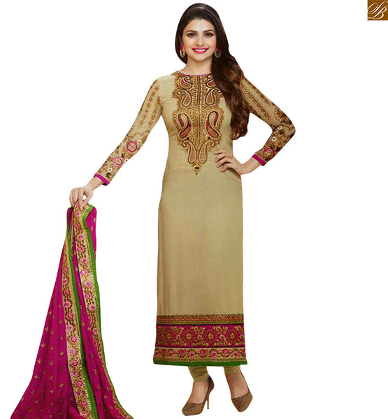 Chikoo colored georgette floral embroidered salwar kameez with stone worked border patta Photo