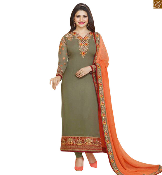 Grey Colored georgette floral embroidered dress with border patta on lower part and border work Photo