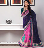 SHOP ONLINE PARTY WEAR SAREE WITH VELVET BLOUSE INDIA