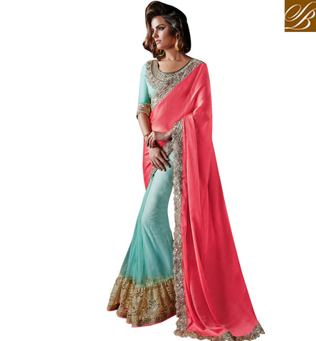 MAJESTIC DUAL COLOR SAREE WITH EXCELLENT BORDER AND STUNNING BLOUSE