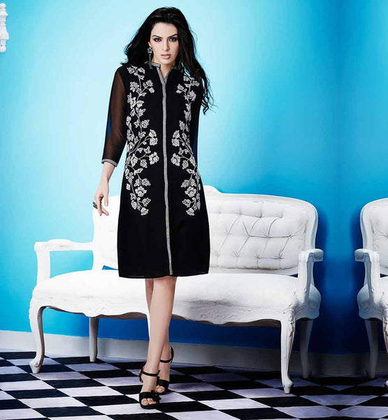 LATEST BLACK SEQUINS PARTY WEAR KURTI DESIGN FOR COLLEGE GOING GIRLS