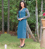 BLUE GREEN AND OFF WHITE PURE COTTON LONG KURTI FOR WOMEN CASUAL WEAR TOPS FOR INDIAN WOMEN WITH DIFFERENT FRONT AND BACK