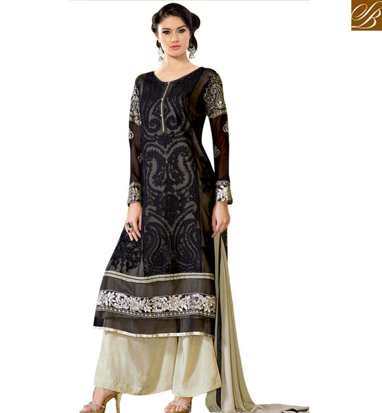 PUNJABI SUIT DESIGNS PLAZZO STYLE PANTS DESIGNS OF KAMEEZ PATTERN WIN HEARTS AT THE FUNCTIONS BY WEARING THIS LATEST FASHION STRAIGHT CUT DRESS