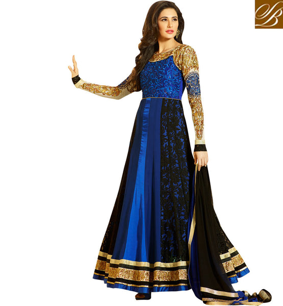 PICTURE OF BOLLYWOOD CELEBRITY NARGIS FAKHRI IN LONG ANARKALI FROCK STYLE GOWN TYPE FLOOR LENGTH MAXI SUIT | BEWITCHING BLUE & BLACK DESIGNER DRESS COLLECTION IMAGE