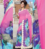 PINK & PURPLE PARTY WEAR SAREE WITH BLOUSE STYLISHBAZAAR ONLINE INDIAN SAREES STORE