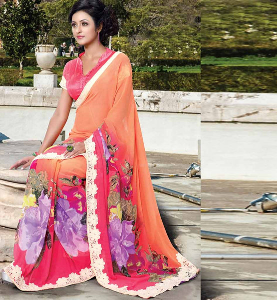 ORANGE & PINK PARTY WEAR SAREE WITH BLOUSE STYLISHBAZAAR ONLINE INDIAN SAREES STORE