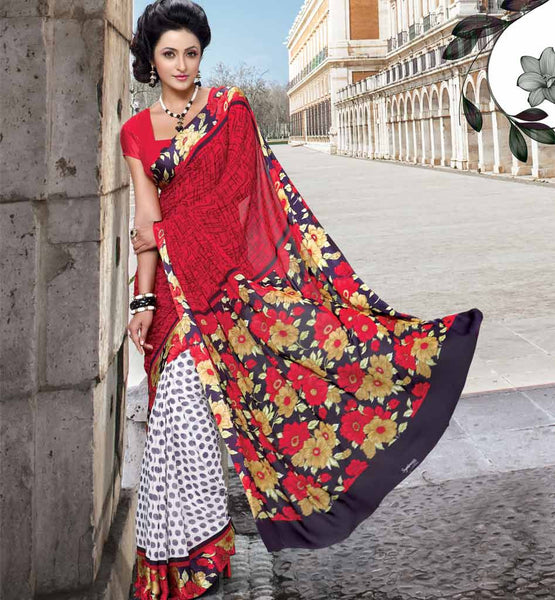 RED & OFF WHITE CASUAL SAREE WITH BLOUSE STYLISHBAZAAR ONLINE SHOPPING WEBSITE INDIA