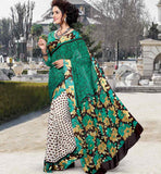 GREEN & OFF WHITE CASUAL SAREE WITH BLOUSE STYLISHBAZAAR ONLINE SHOPPING WEBSITE INDIA