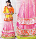 LEHENGA STYLE NET & GOERGETTE SAREE WITH BLOUSE