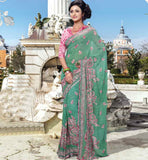 CASUAL WEAR GEORGETTE SAREE WITH DESIGNER BLOUSE RTKAN264A GREEN PRINTED GEORGETTE CASUAL WEAR SAREE WITH PINK DUPION BLOUSE STYLISH BAZAAR