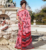 PINK PRINTED CASUAL SAREE WITH BLOUSE STYLISHBAZAAR ONLINE SHOPPING WEBSITE INDIA