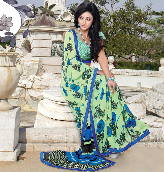 LATEST DESIGNER BLOUSES FOR INDIAN SAREES ONLINE SHOPPING LATEST GEORGETTE BLOUSE WITH GREEN PRINTED GEORGETTE INDIAN SAREE  draping attractive printed designer casual wear saree Buy ONLINE DESIGNER SAREE BLOUSE AT MOST REASONABLE PRICE