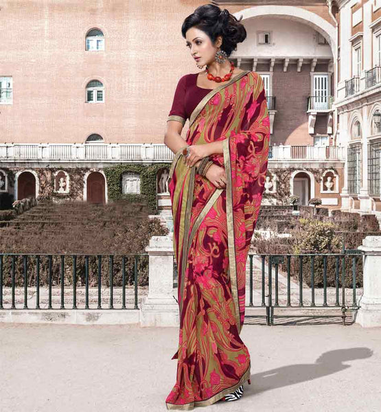 GEORGETTE PRINTED CASUAL SAREE BLOUSE