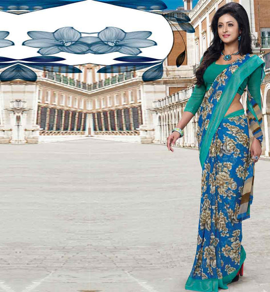 BUY PRINTED CASUAL SAREE WITH BLOUSE