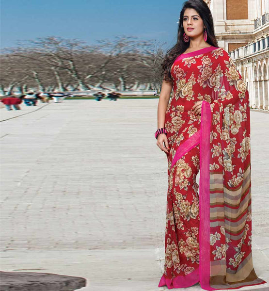 MAGNETIC MAROON GEORGETTE CASUAL WEAR SAREE WITH PINK BLOUSE RTKAN268B