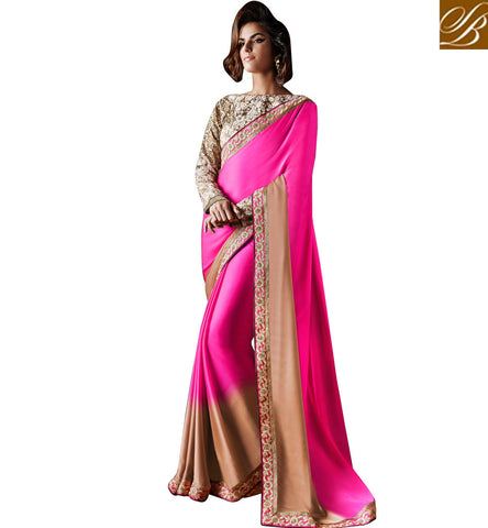 SIZZLING SHADED SAREE SATIN GEORGETTE SAREE WITH BANGALORE SILK BLOUSE