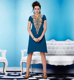 ASYMMETRIC CUT CHIC GEORGETTE PARTY WEAR LONG KURTI TOP BUY ONLINE