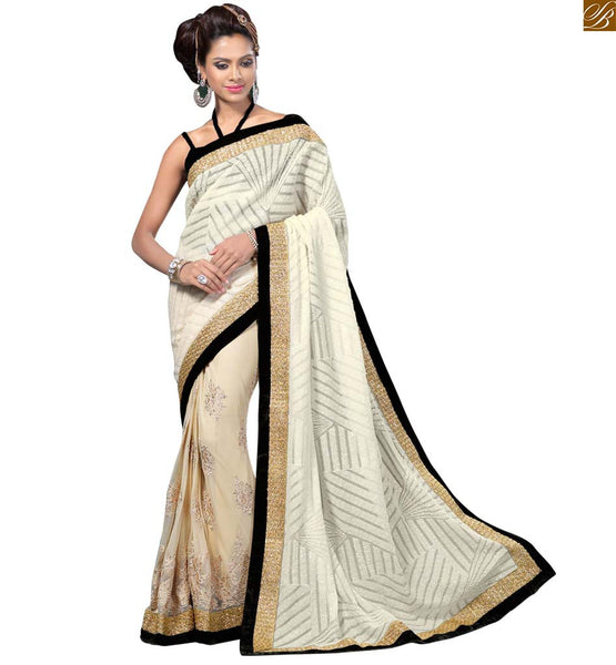 BROUGHT TO YOU BY STYLISH BAZAAR MAGNETIC WHITE SARI WITH BLACK BORDER AND BLOUSE RTVL27