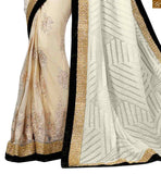 A STYLISH BAZAAR PRESENTATION  MAGNETIC WHITE SARI WITH BLACK BORDER AND BLOUSE RTVL27