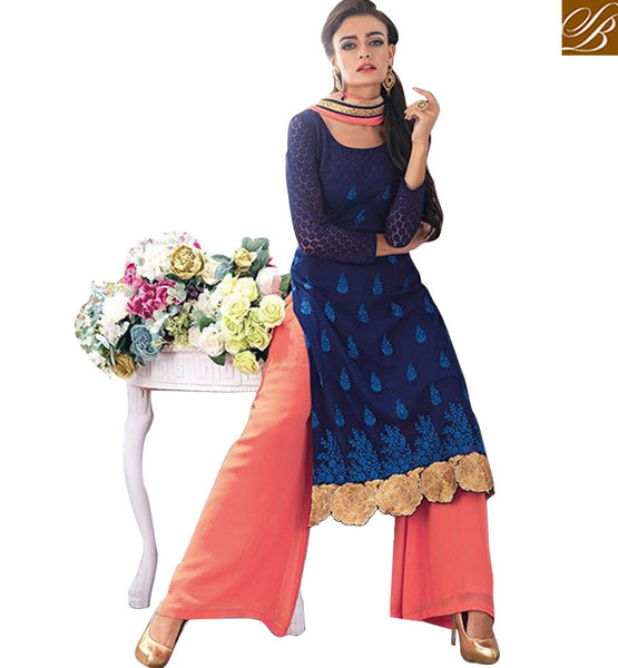 FROM STYLISH BAZAAR ADMIRABLE NAVY BLUE DESIGNER SALWAR SUIT KMSH2700