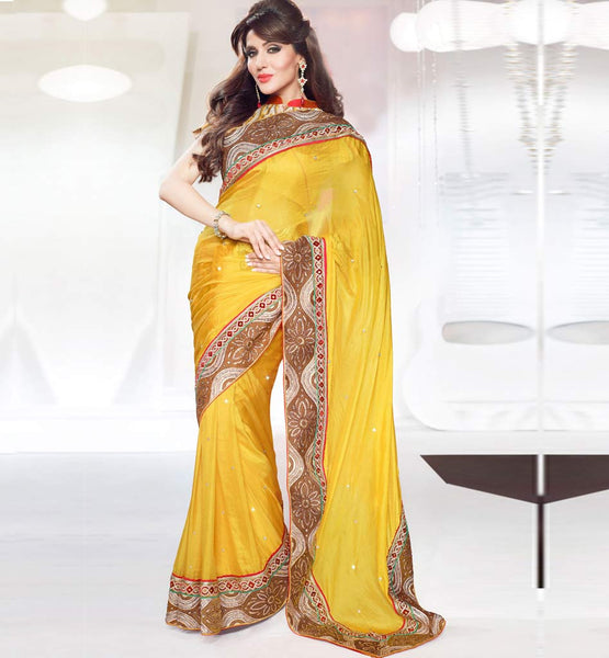 Yellow Pure silk designer saree with Art silk blouse Wedding Designer Sarees 1188